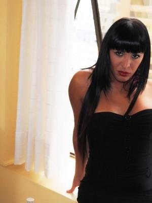 Latina shemale Augustina Gonzaga has a big ass and a hanging cock